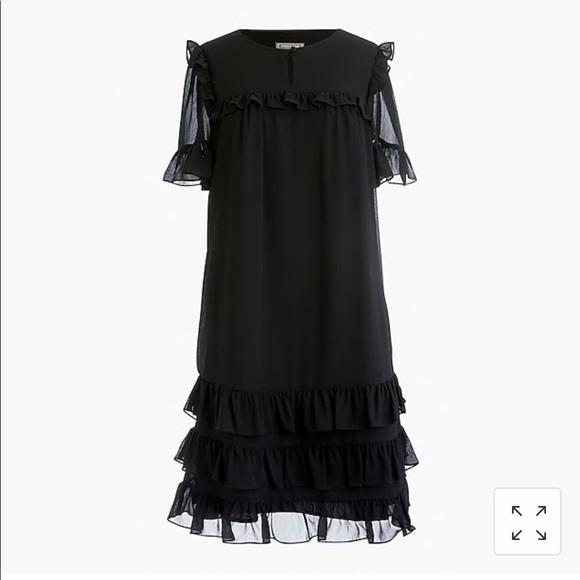 J. Crew Dresses & Skirts - J crew Ruffle Dress in Crinkle Chiffon 14 Black